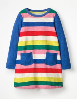 Rainbow Stripe Stripy Jersey Dress