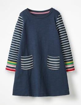 School Navy Stripy Jersey Dress