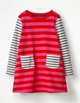 Polish Red/Pop Pink Stripe Stripy Jersey Dress