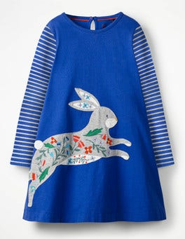 Cobalt Blue Bunny Big Appliqué Dress