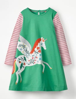 Jungle Green Pegasus Big Appliqué Dress