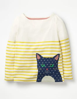 Honeycomb/ Ecru Cat Appliqué Pet-on Breton