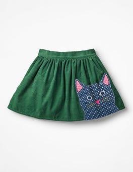 Willow Green Cat Animal Appliqué Skirt