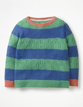 Jungle Green/Cobalt Blue Textured Stripy Jumper