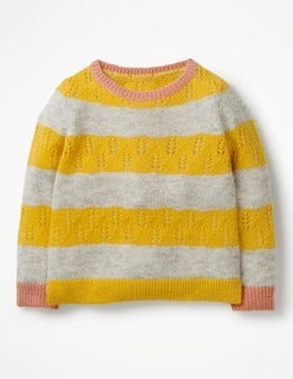 Honeycomb Yellow/Grey Marl Textured Stripy Jumper