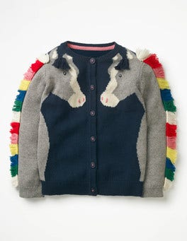 School Navy Horse Fun Cardigan