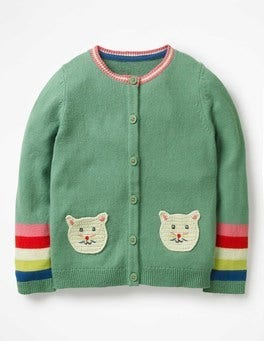 Jungle Green Crochet Cats Pet Cardigan