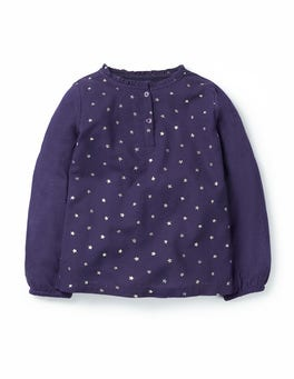 Prussian Blue/Silver Stars Superstar Ruffle Top