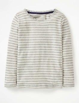 Grey Marl/Blue Sparkly Pointelle T-shirt