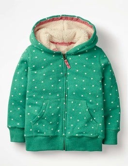 Jungle Green Marl/Ecru Stars Printed Shaggy-lined Hoodie