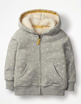 Grey Marl/Ecru Stars Printed Shaggy-lined Hoodie