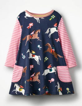 School Navy Jumping Ponies Printed Tunic