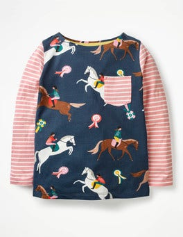 School Navy Jumping Ponies Hotchpotch Pocket T-shirt