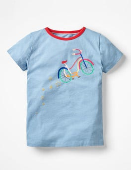 Heavenly Blue Bike Sparkly Graphic T-shirt
