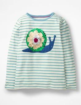 Delphinium Blue/ Ecru Snail Colour-change Sequin T-shirt