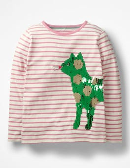 Formica Pink/ Ecru Cat Colour-change Sequin T-shirt