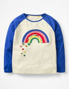 Ecru Rainbow Patchwork Appliqué T-shirt