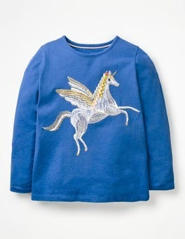 Cobalt Blue Unicorn Superstitch Appliqué T-shirt