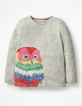 Grey Marl Owl Superstitch Appliqué T-shirt