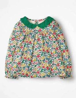 Multi Flowerbed Broderie Collar Blouse