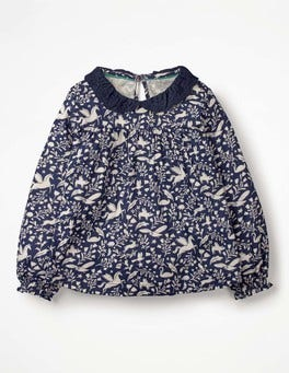 Prussian Blue Peculiar Pets Broderie Collar Blouse