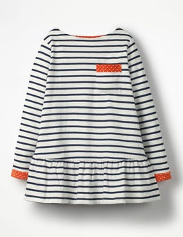 Ecru/School Navy Stripy Pocket Tunic