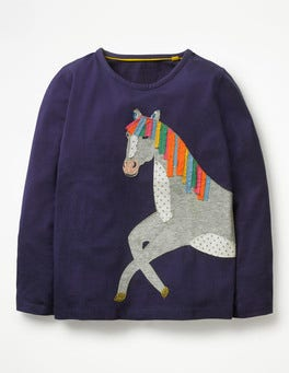 Prussian Blue Horse Animal Appliqué T-shirt