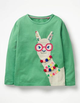 Jungle Green Llama Animal Appliqué T-shirt