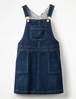 Mid Vintage Jersey Denim Dungaree Dress