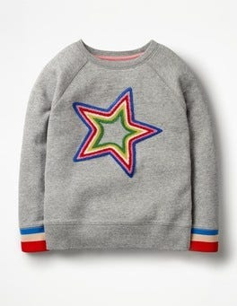 Grey Marl Star Be Bold Detailed Sweatshirt