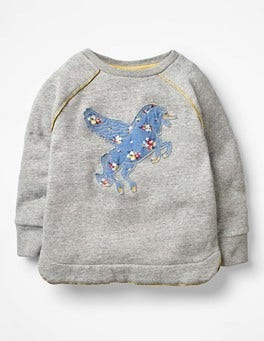 Grey Marl Unicorn Fun Cosy Sweatshirt