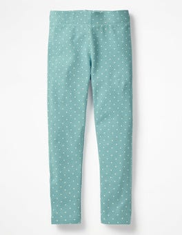 Delphinium Blue Ecru Pinspot Fun Leggings