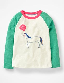 Ivory/Jungle Green Horse Fun Raglan T-shirt