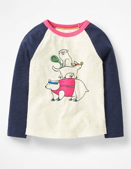 Ivory/School Navy Animals Fun Raglan T-shirt
