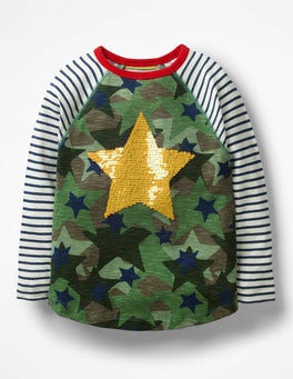 Army Green Camo Star Colour-change Sequin Raglan