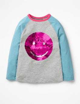 Grey Marl Smile Colour-change Sequin Raglan