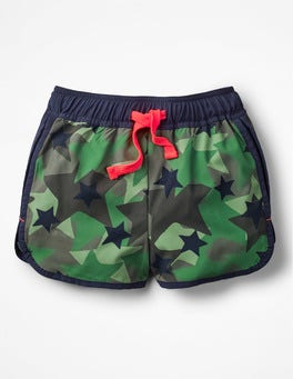 Army Green Camo Stars Running Shorts