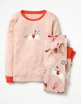 Provence Dusty Pink Ponies Cosy Long Johns Pajamas
