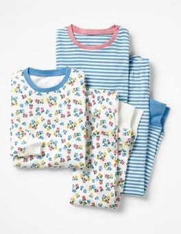 Ivory Blossom/Heavenly Blue Twin Pack Long John Pyjamas