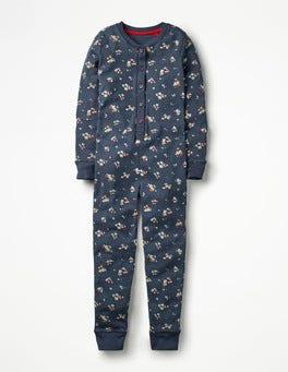 Navy Marl Vintage Posy Cosy All-in-one Pyjamas