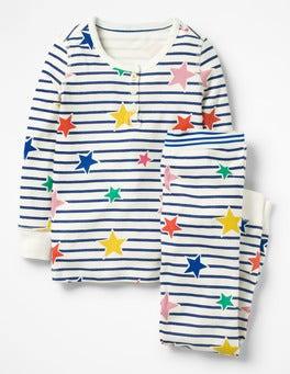 Starboard Blue/Multi Stars Henley Pyjama Set