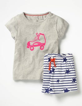 Grey Marl Roller Boot Shortie Pyjama Set