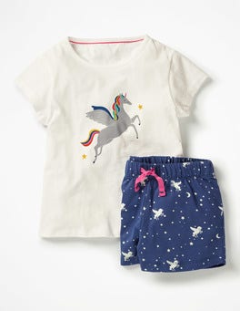 Ivory Unicorn Shortie Pyjama Set