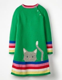 Green Pepper Cat Cheeky Cat Knitted Dress