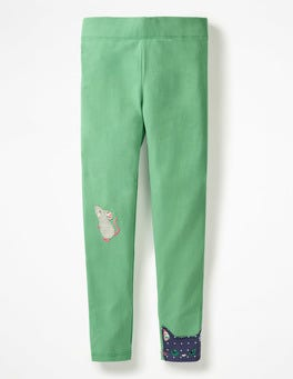 Jungle Green Cat and Mouse Appliqué Leggings