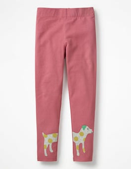 Rose Pink Dog Appliqué Leggings