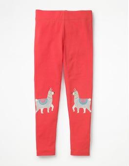 Pink Berry Llamas Appliqué Leggings