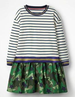 Sparkly Stripe/Camo Stars Fun Jersey Woven Dress
