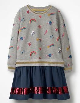 Grey Marl Disco Fun Jersey Woven Dress