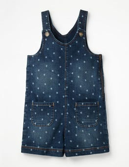 Denim Vintage Posy Retro Short Overalls
